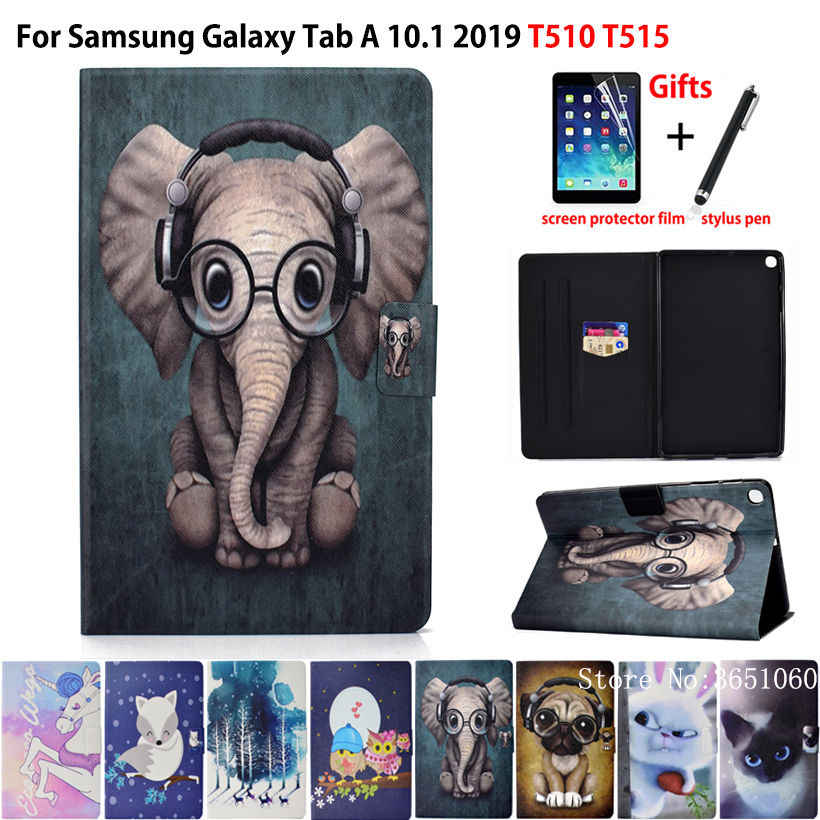 Case For Samsung Galaxy Tab A 10.1 2019 T510 T515 SM-T510 Cover Funda Fashion Animal Silicone PU Leather Stand Skin +film+stylus
