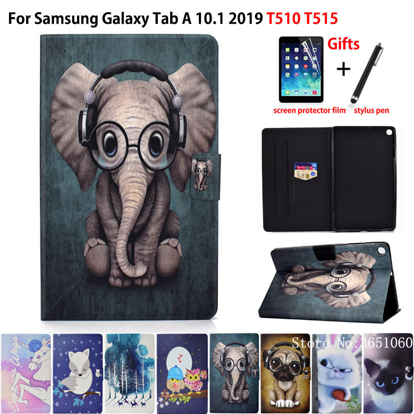 Case For Samsung Galaxy Tab A 10.1 2019 T510 T515 SM-T510 Cover Funda Fashion Animal Silicone PU Leather Stand Skin +film+stylus