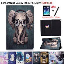 Étui pour samsung Galaxy Tab A 10.1 2019 T510 T515 SM-T510 couverture Funda mode Animal Silicone PU cuir support peau + film + stylet(China)