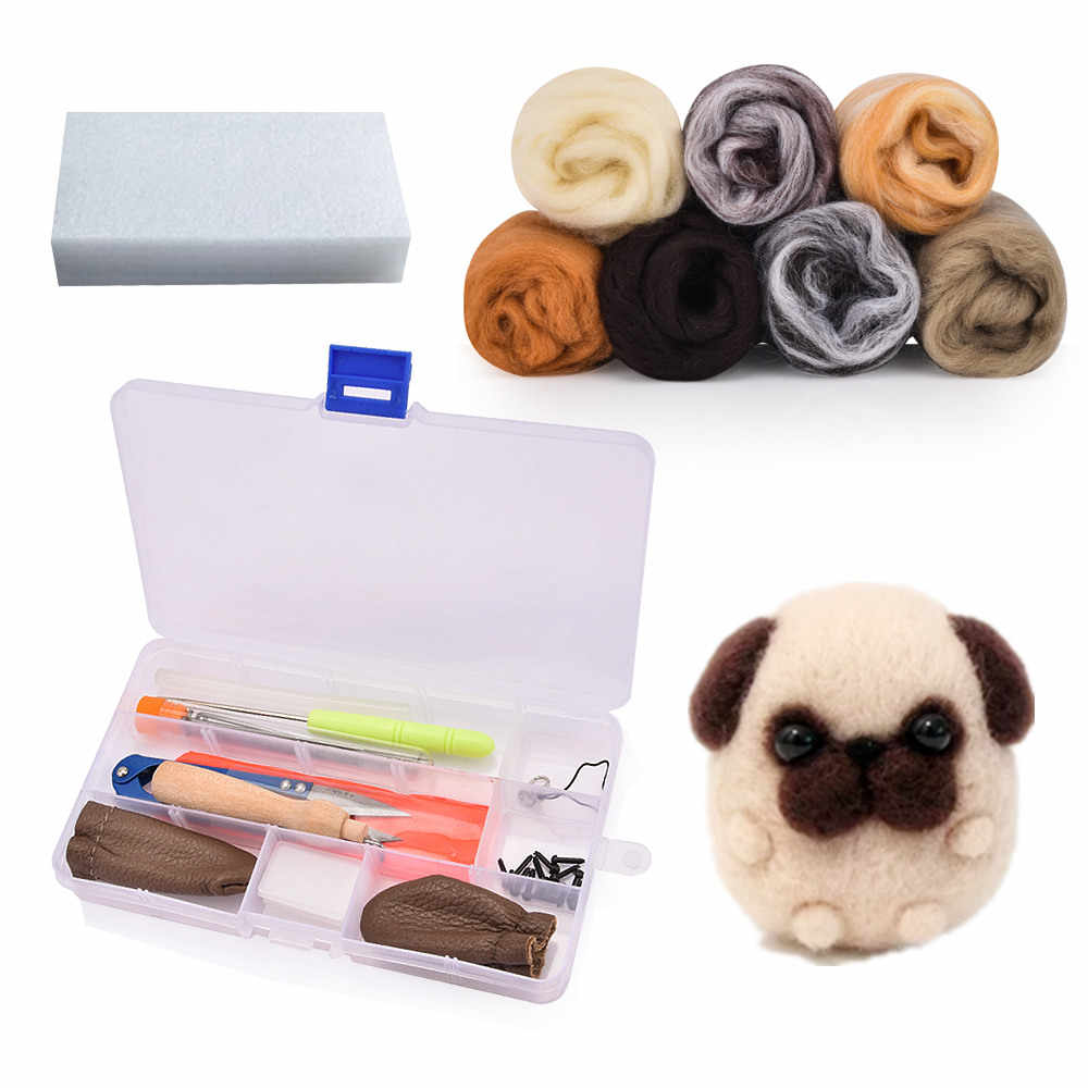 Needle Felting Starter Kit Wool Roving 40 Colors Set for Cute Felted Animal Supplies with Tool Instruction DIY Home Hanging Decoration Creative Entertainment Wet Doll Needlework Gift Tools
