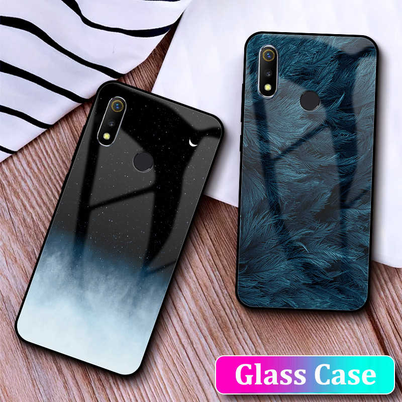 GFAITH For Realme 3 Pro Glass Case Tempered Glass Full Cover Instagram Starry Design Feather Funda For Realme 3 2 C1 5 XT Cases
