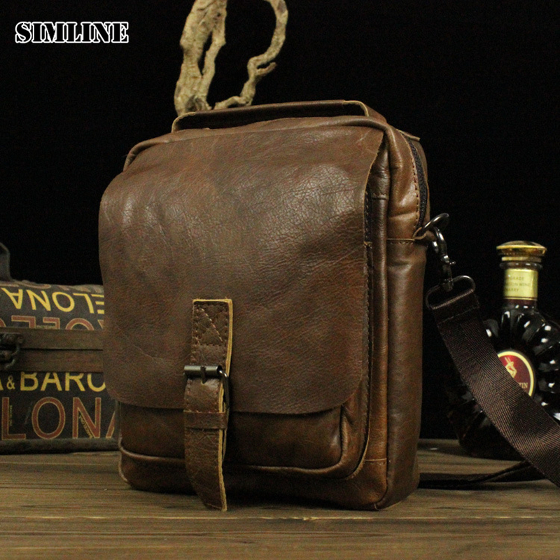 ФОТО New High Quality Vintage Casual 100% Genuine Leather Cowhide Men Small Handbag Handbags Shoulder Bag Messenger Bag Bags For Man