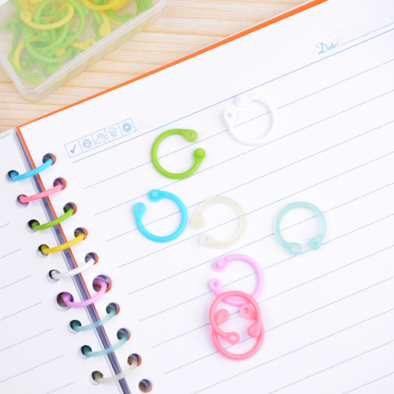 60 Pcs Creative Plastic Multi Function Circle Ring 15mm Office Binding Supplies Loose Leaf Colorful Book Binder Hoops