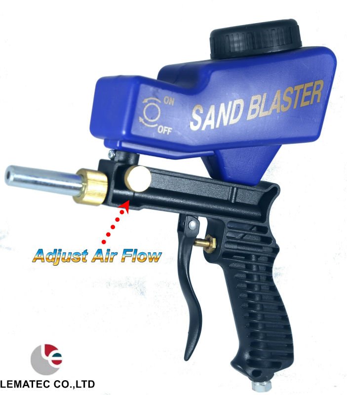 LEMATEC AS118 Gravity Feed Air Sandblasting Gun Sandblaster Gun Remove Spot Rust With One Free Tip