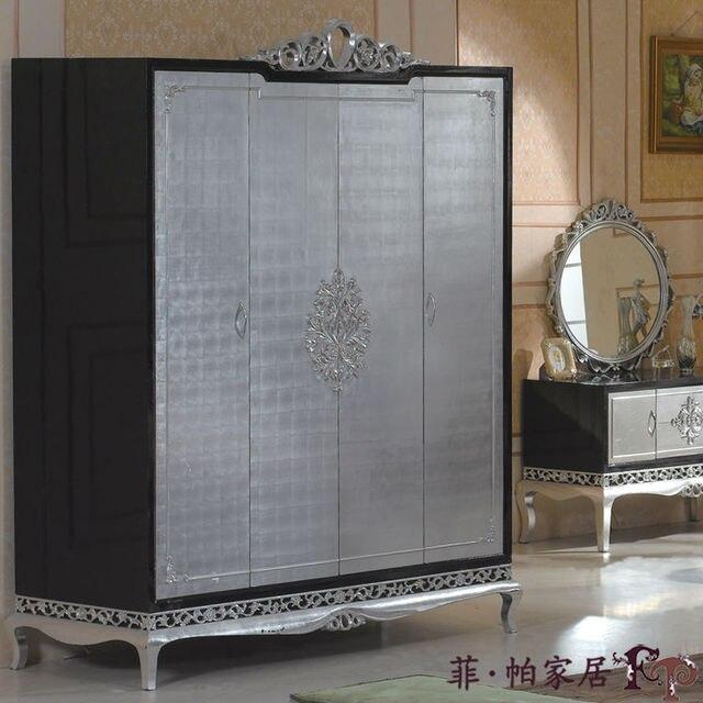 Us 20360 Nieuwe Klassieke Meubelen Zilver Folie Hand Gesneden Massief Hout Kast Gratis Verzending In Nieuwe Klassieke Meubelen Zilver Folie Hand