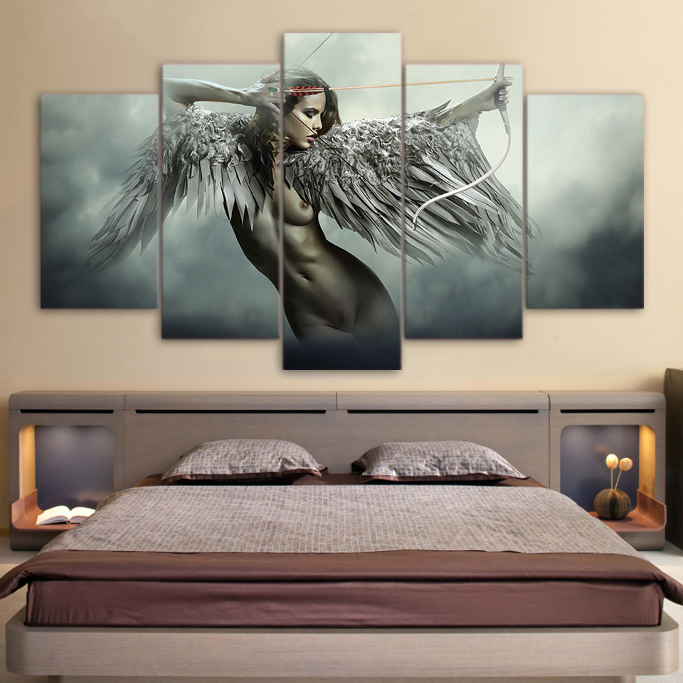 """Fantasy Art Oil Painting Print On Canvas Home Decor/""""A Girl And Paint/""""Framed"""