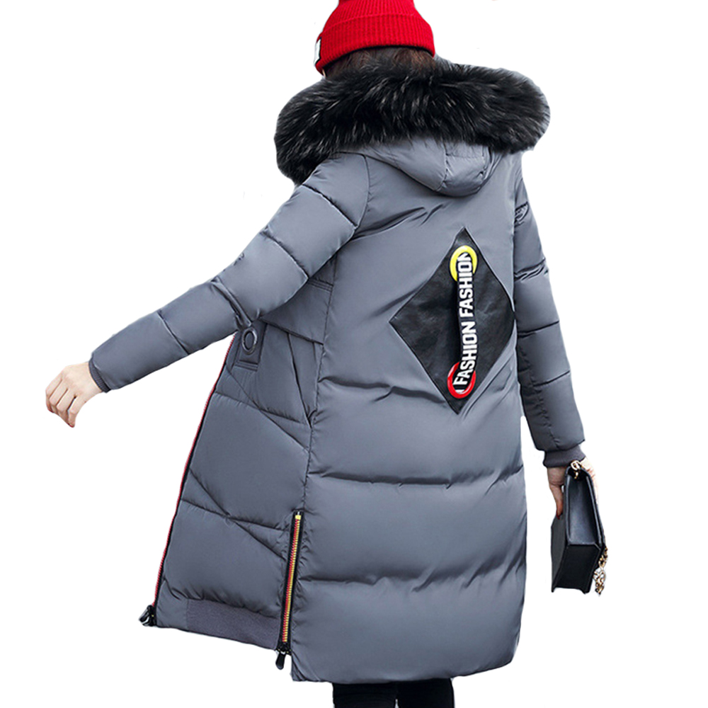 2017 New Winter Jacket Women Hooded Coat Fur Slim Thick Winter Warm Cotton Jacket Parkas Long Zipper Wadded Jacket Coat Outwear 2017 new women winter coat long quilted jacket thick warm solid color cotton parkas female slim hooded zipper outwear okb88