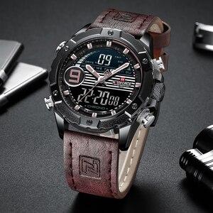 Image 2 - NAVIFORCE Luxury Brand Mens Sport Watches Men Quartz LED Digital Clock Male Military Waterproof Leather Watch Relogio Masculino