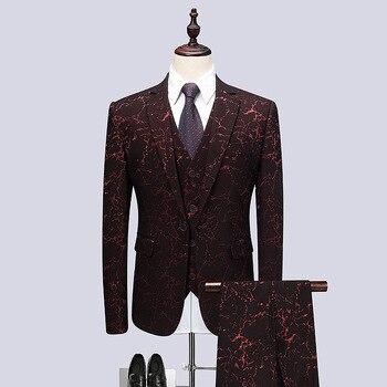 Men's suits men's gentleman suit three-piece suit (jacket + pants + vest) men's printed business dress wedding groom dress