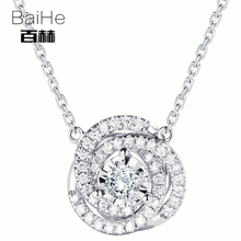 BAIHE Solid 14K White Gold 0.10ct Certified H/SI 100% Genuine Natural Diamond Women Trendy Fine Jewelry Elegant gift Necklaces