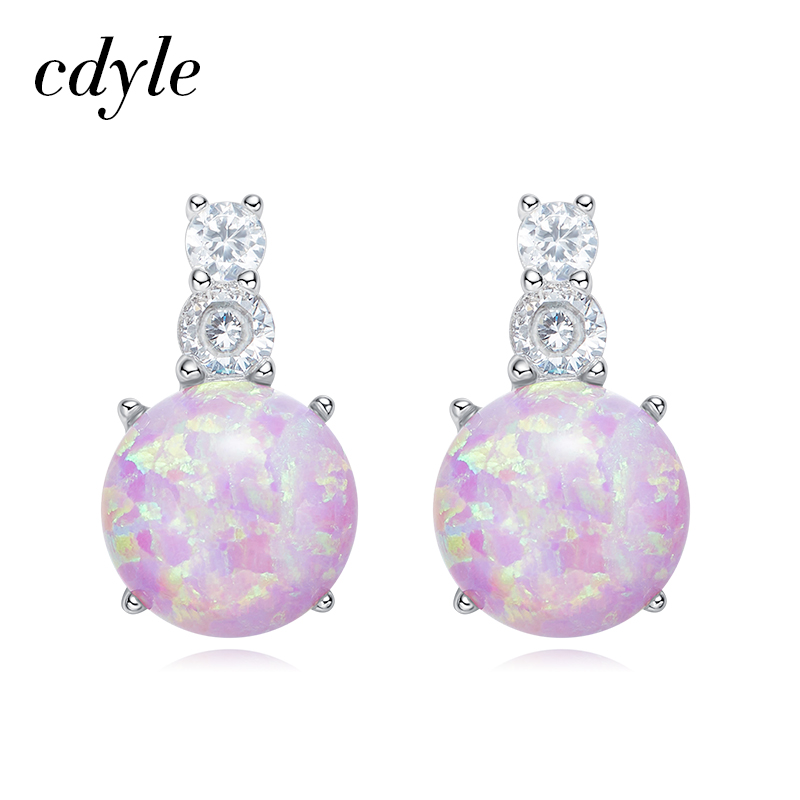 Cdyle S925 Sterling Silver Jewelry Stud Earrings Women Fashion Fire Opal  Earrings Wedding Bijoux Elegant Gift New Chic Lady Gift a3bf64c57a30