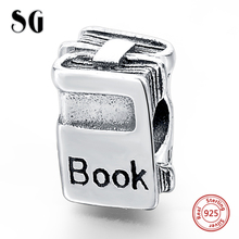 MANBU Authentic 925 Sterling Silver Book Charm Beads Fit  European Original Charm Bracelet DIY Jewelry Gifts недорого