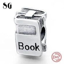 MANBU Authentic 925 Sterling Silver Book Charm Beads Fit  European Original Charm Bracelet DIY Jewelry Gifts недорого