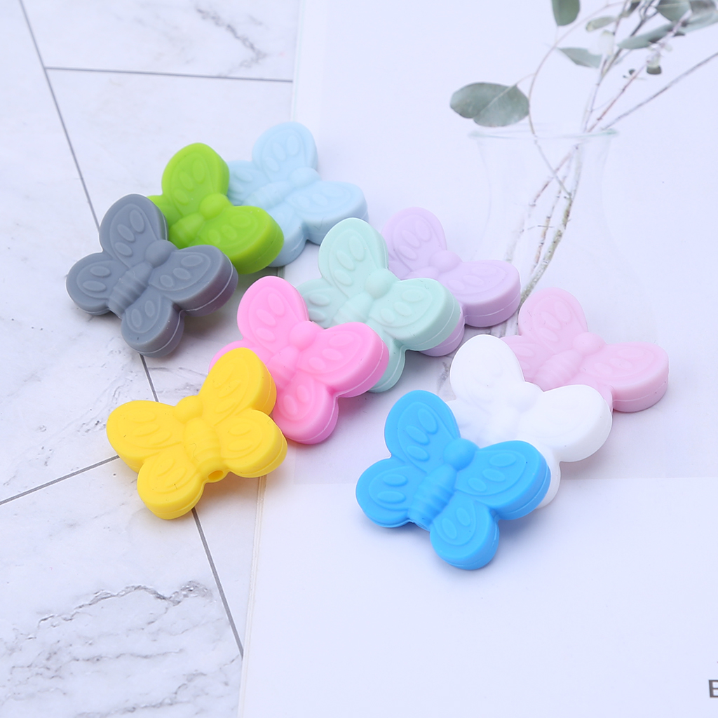 Silicone Teether Beads Baby Teething Pacifier DIY Soother Butterfly Newborn Nursing Bite Chew Necklace Bracelet Pendant