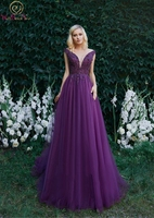 Purple Prom Gown Cheap Luxury Tulle With Appliques Beading Sequined Handwork V neck Sexy Sleeveless A line Vintage Evening Dress