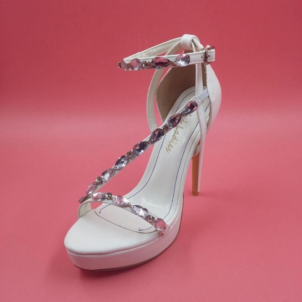 Elegant White Wedding Shoes Women Sandal Thick Platform Ankle Straps Crystals Bridal Shoes Ladies Sandals 2015 Open Toe