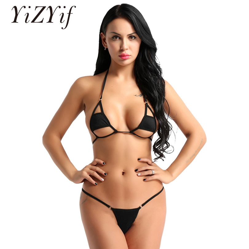 YiZYiF Women <font><b>Sexy</b></font> Halter <font><b>Neck</b></font> <font><b>Bikini</b></font> Swimming Costumes Lingerie Set Micro <font><b>Bikini</b></font> Bra Top with Briefs Bottoms Swimsuit Swimwear image