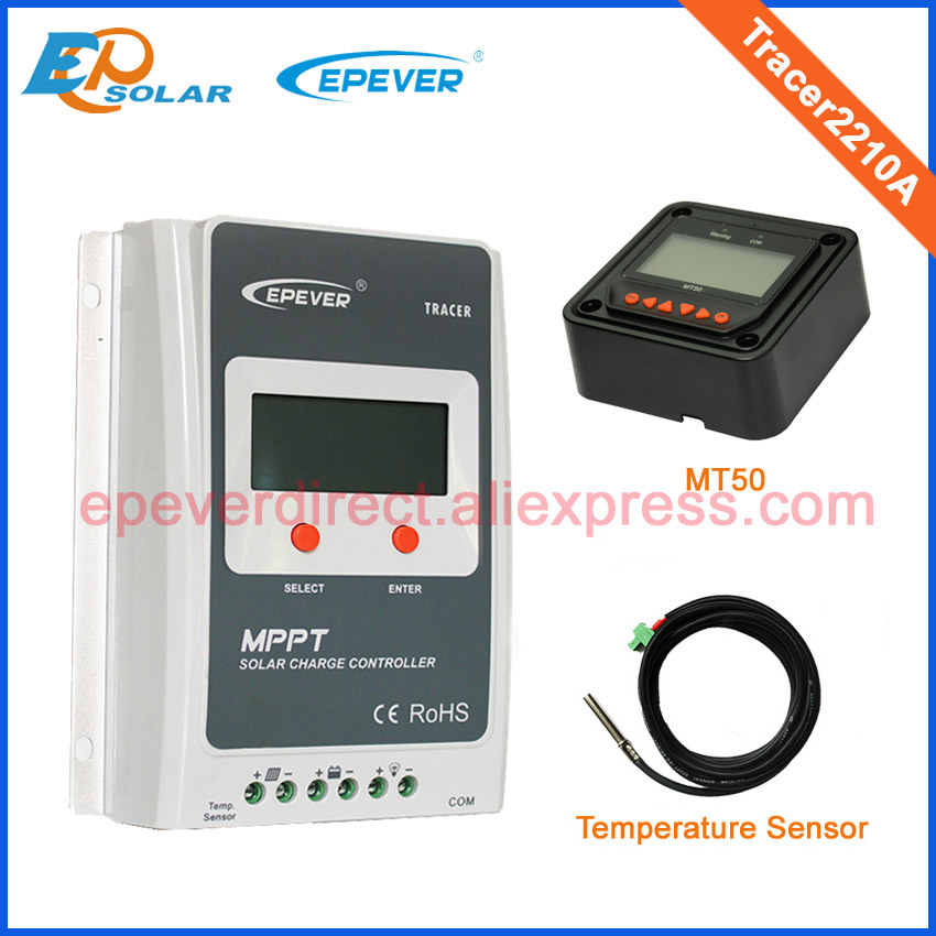 MPPT 20A Solar regulator Tracer2210A with MT50 remote meter and temperature sensor two color choices mt50 solar regulator 20a mppt tracer2210a with ble and sensor for 12v 24v auto work