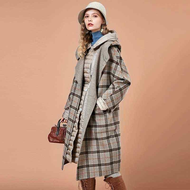 ARTKA 2018 Autumn and Winter Women Vintage Houndstooth Simple Large Pocket Loose Double Woolen Coat S-XL FA10189D