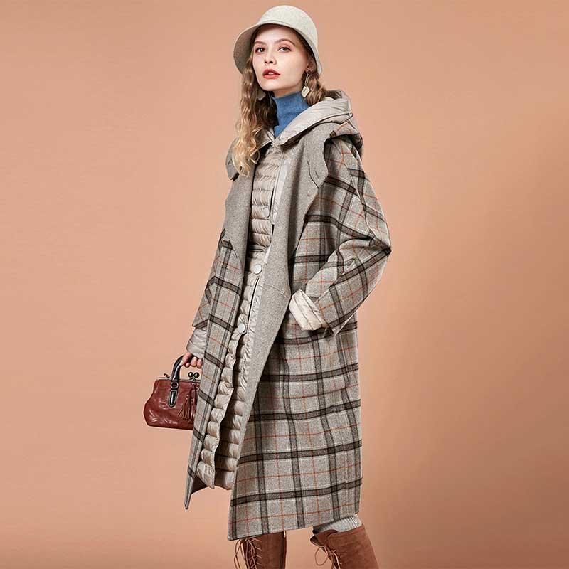 ARTKA Vintage Houndstooth Woolen Coat FA10189