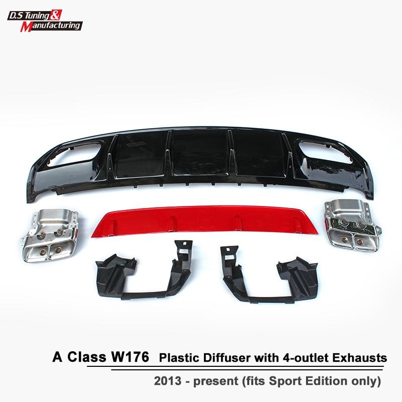 ABS A45 Diffusore + 304 In Acciaio Inox 4-Presa Tip di Scarico Adatto per Mercedes W176 2013-IN Sport edizione UNA Classe A180 A200
