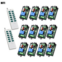 AC 220V 110V 30MA 200M 1 Channel 2 Controller+12 Receiver Wireless Remote Control Switch Relay for Smart Control 4021
