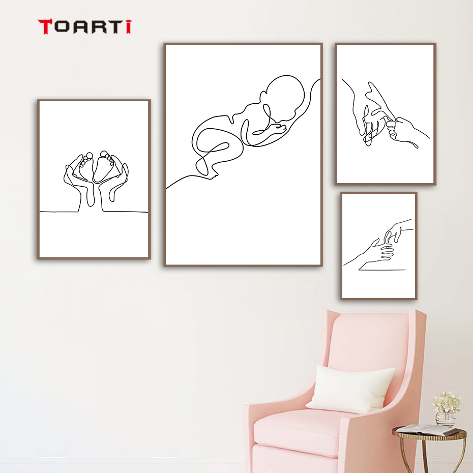 Minimalist Human Body Line Drawing Wall Art Modern Abstract Painting Family Quotes Vintage Posters&Prints Living Room Home Decor (6)