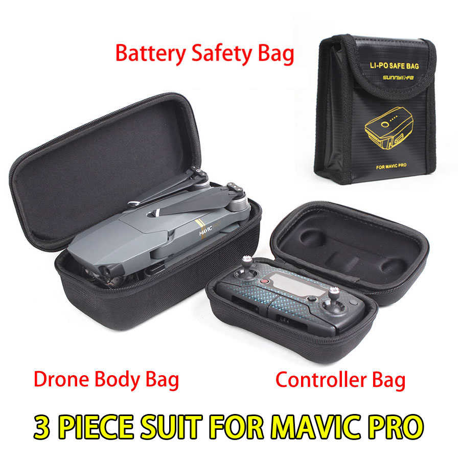 Drone Body Bag+Remote Controller/Transmitter/Monitor Carrying Case+Battery Explosion-Proof Bag Safety Charge for DJI Mavic Pro
