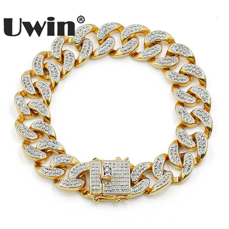 Uwin Cuban Link Chain Bracelet Micro Pave Iced Out Cubic Zircon Fashion Hiphop Gold Color Mens Female Jewelry 7'' 8''Length 7 rose gold black color unique new cuban link chain design cool mens jewlery hiphop rock wide cuban link chain bracelet bangle