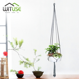 Image 2 - WITUSE צבעוני כותנה חבל סיר מחזיק תליית סל פשוט פרח קולב קרמיקה עציץ תליית כלי מרפסת סיר חדר דקור