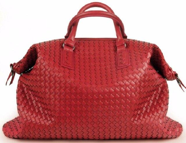 Women Woven Leather Convertible Bag Tote W Double Handles Large Crossbody Handbags Dropship