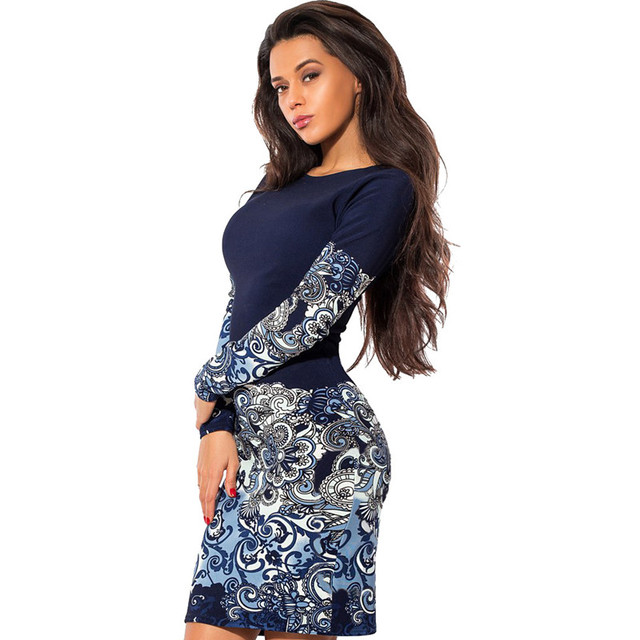 Plus Size 2016 Women Casual Vintage Dress O neck Long Sleeve polka dot Flower Print Slim Sexy Pencil Dress Bodycon Party Dresses