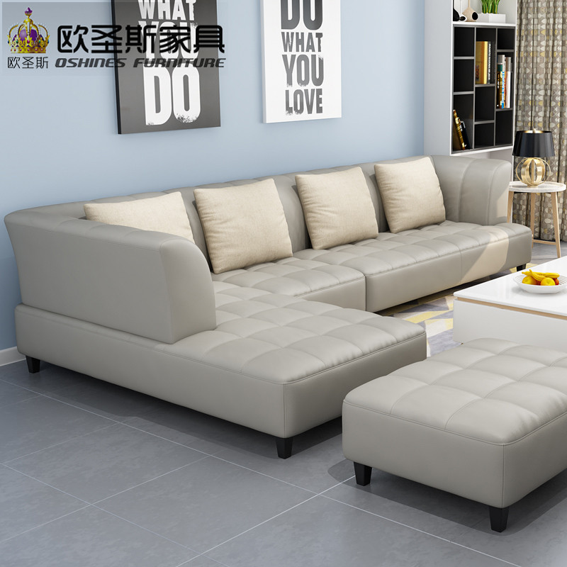 Leather Sofa Price: Barcelona Silver Modern Corner L Shape Recliner Armchair
