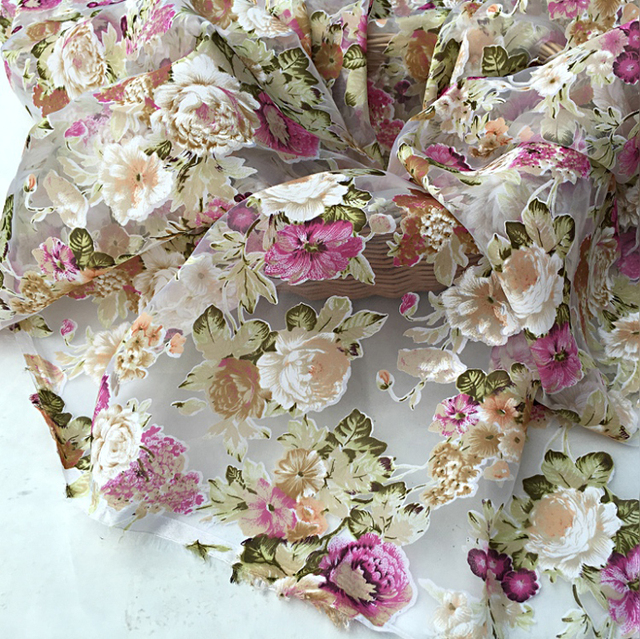 Colorful Floral Pattern Burn Out Gauze Dress Material Organza Print