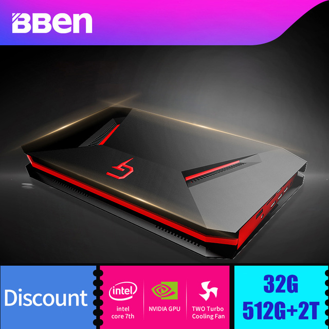 Bben GB01 MINI Computer Win10 7th Gen. Intel I7 7700HQ CPU NVIDIA GEFORCE GTX1060 6G GDDR5 Ram WIFI BT4.0 8G/16G/32G RAM SSD/HDD