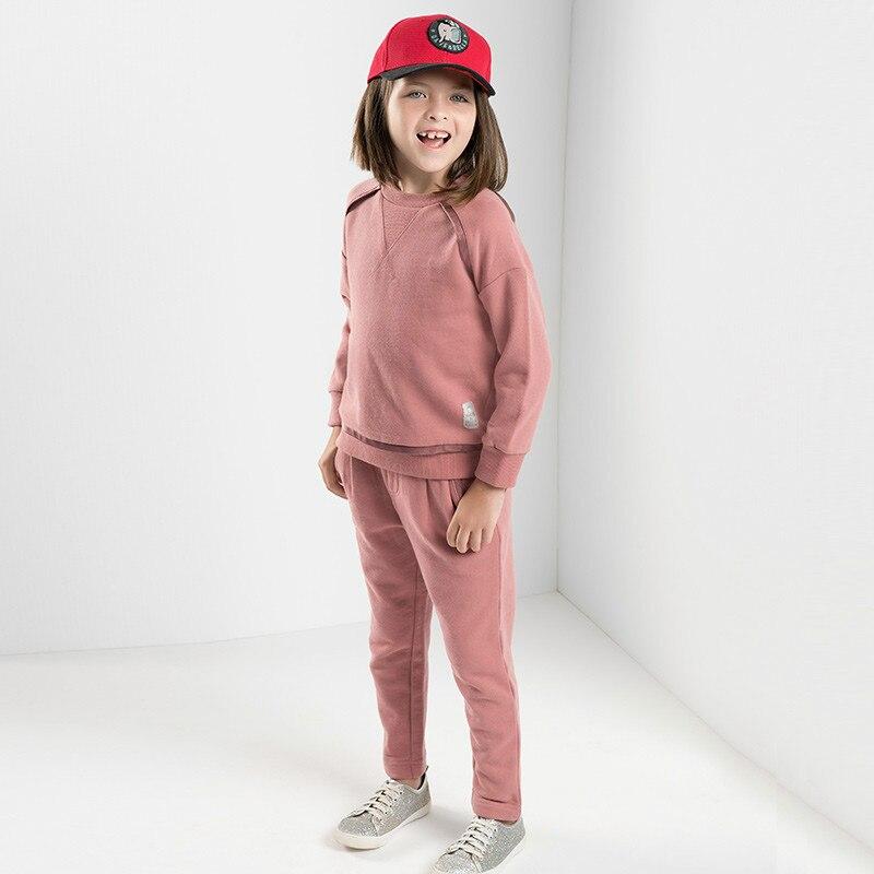 DBK8099 Dave Bella дети обувь для девочек От 5 до 13 лет комплекты одежды детей бутик с длинным рукавом костюмы модная одежда