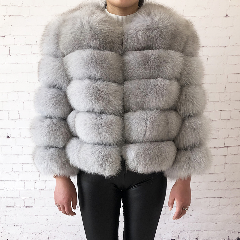 2019 new style real fur coat 100% natural fur jacket female winter warm leather fox fur coat high quality fur vest Free shipping 89