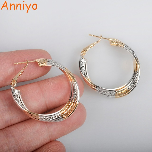 Anniyo 3CM Two Tone Earrings For African Womens/Girl Mixed Silver/Gold  Color Jewelry