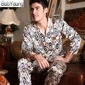 2-pices BabYoung 2017 Hombres de Seda Del Satén Pijamas Casual ropa de Dormir Con Cuello En V Manga Larga Pijama Pantalón Masculino Pijamas Hombre Loungewear