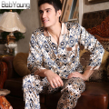 BabYoung 2017 Men Silk Satin Pajamas Sets Casual 2-pices Sleepwear V-neck Long Sleeve Pijama Pant Male Pyjamas Hombre Loungewear