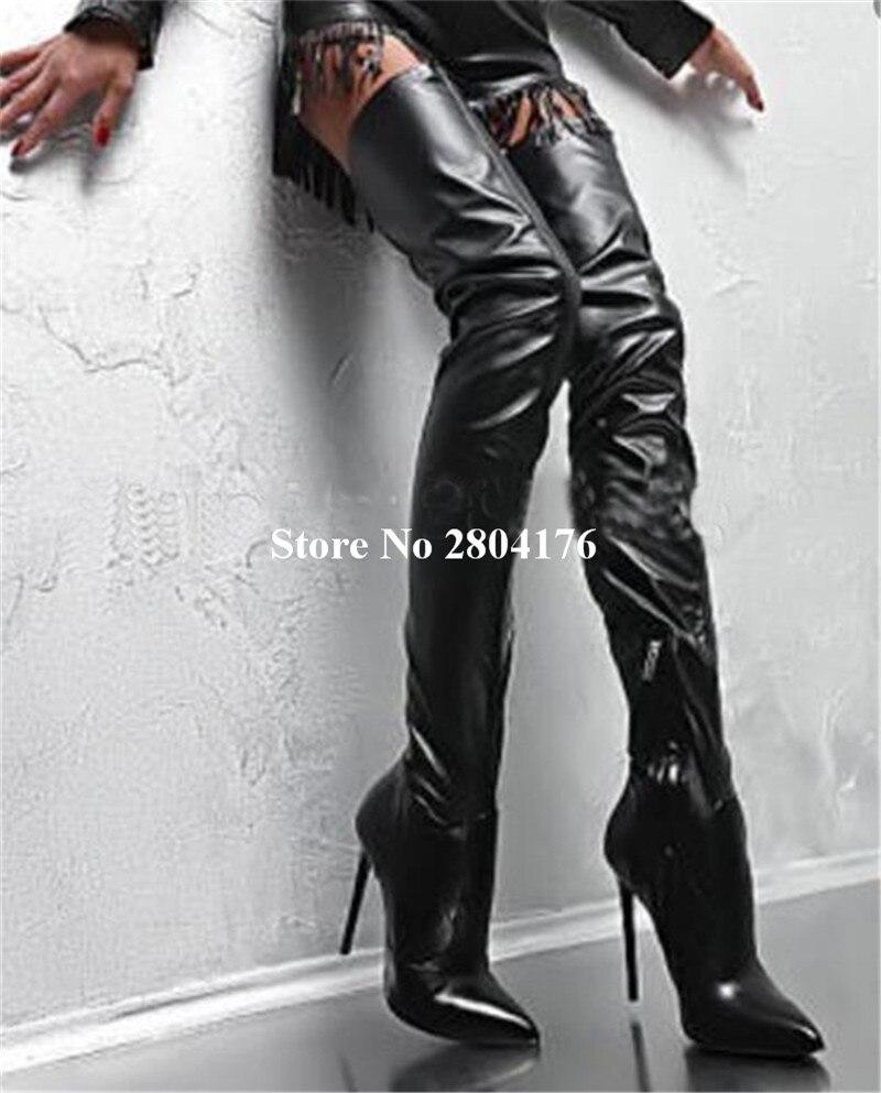 Talons Chaussures sur Mince Moto Hiver Bout De Slip Talon Sur Bottes Picture Booots Stiletto Solide Pointu Genou Automne Rome Le As Longues Femmes POpOqA