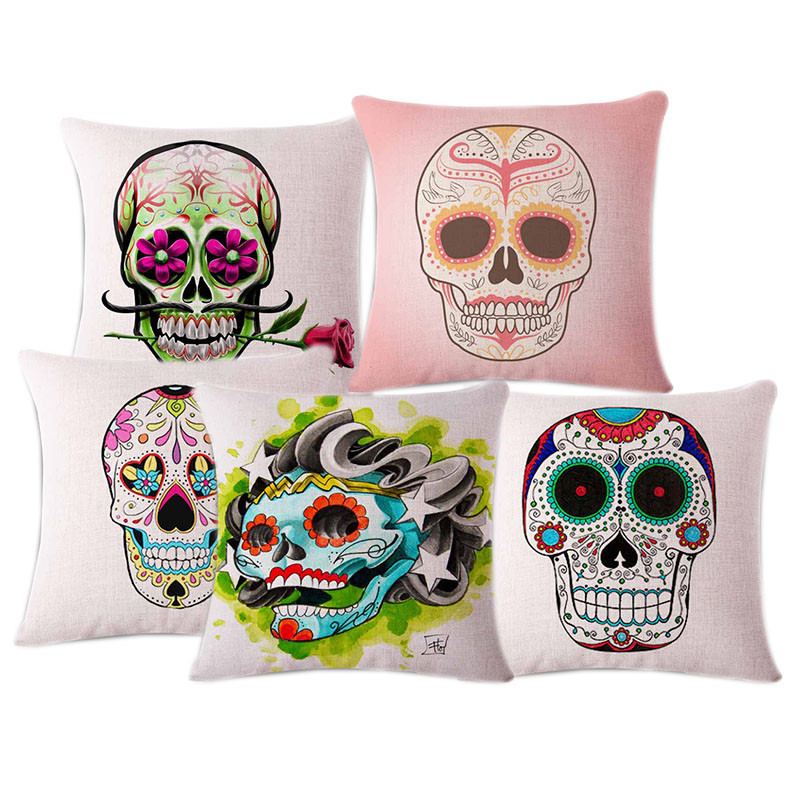 creative mexican skull sofa decorative cushion cover best selling halloween mischief gift office decor pillow case