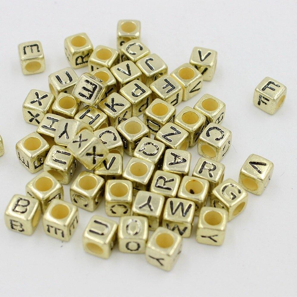 Бесплатная доставка 100 шт./лот 6 мм Radomly Смешанные Буквы A-Z акриловые кубические бусины для DIY Loom резинками Шарм Браслеты