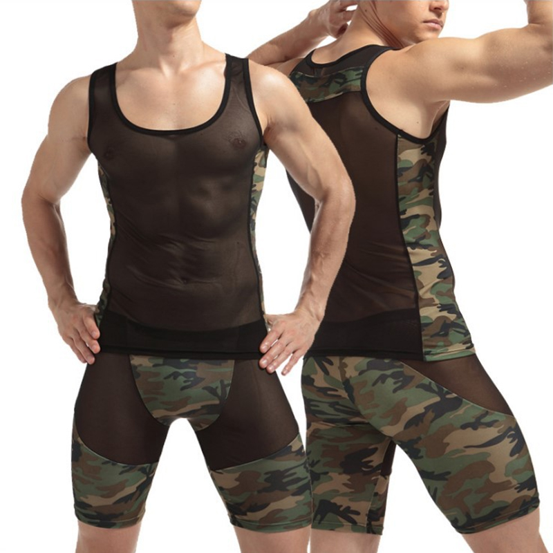 Camo Men Pajamas Set Pijama Hombre Sleeveless See Through Sleepwear Plus Size Pyjama Homme Nightwear O-neck Homedress In Summer