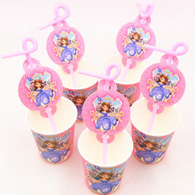 20pcs/set Cartoon Sofia Straw&Paper Cup Birthday Party Decoration Disposable Drinking Straws Supplies Favors