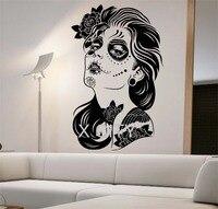 Day Of The Dead Wall Decal ROSES GIRL Vinyl Sticker Art Decor Home Bedroom Design Mural