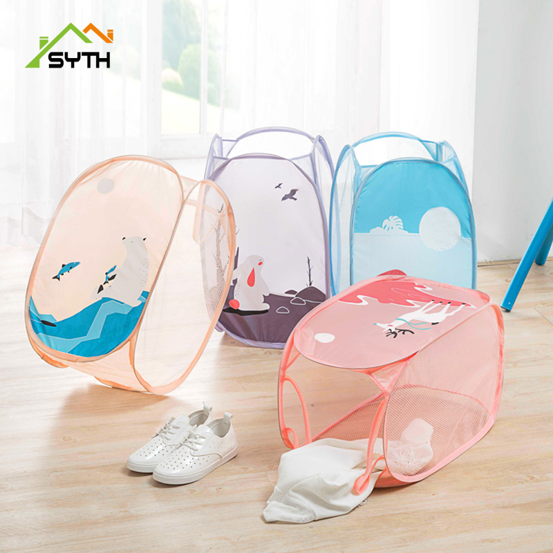 SYTH PM Series Foldable Large Laundry Basket Clothes Storage Basket Clothing Storage Bucket Laundry Organizer Holder Pouch House in Laundry Bags Baskets from Home Garden