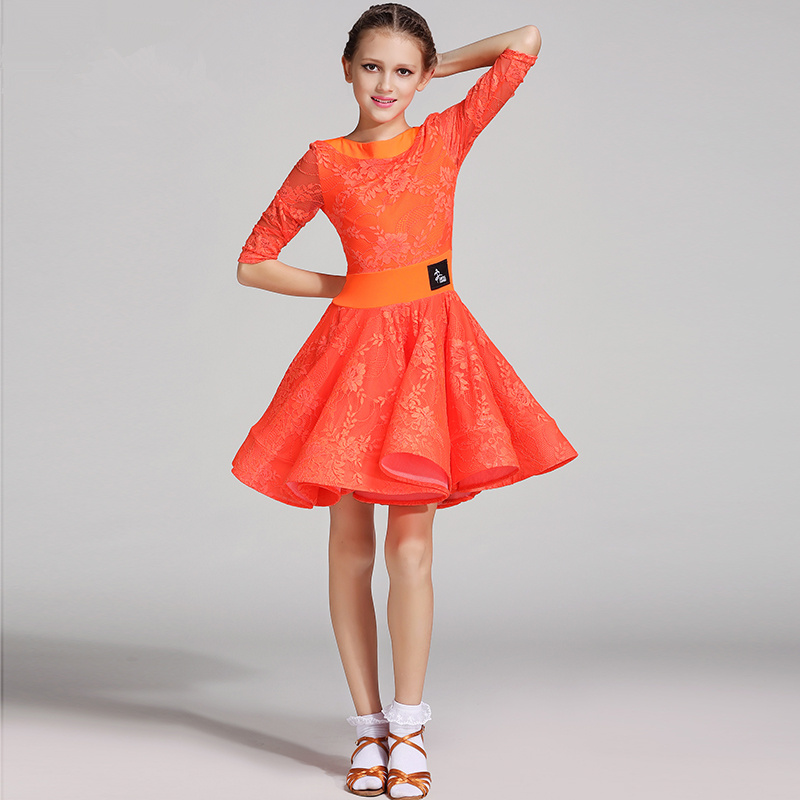 Kids Standard Dance Dress Girls Lace Ballroom Clothes Long Sleeve Kids Dancewear