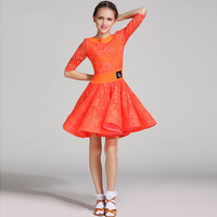 Girls Lace Milk silk Latin dancing dress Kids Ballroom Salsa Dance wear Outfits Children's Party Stage wear costumes long sleeve