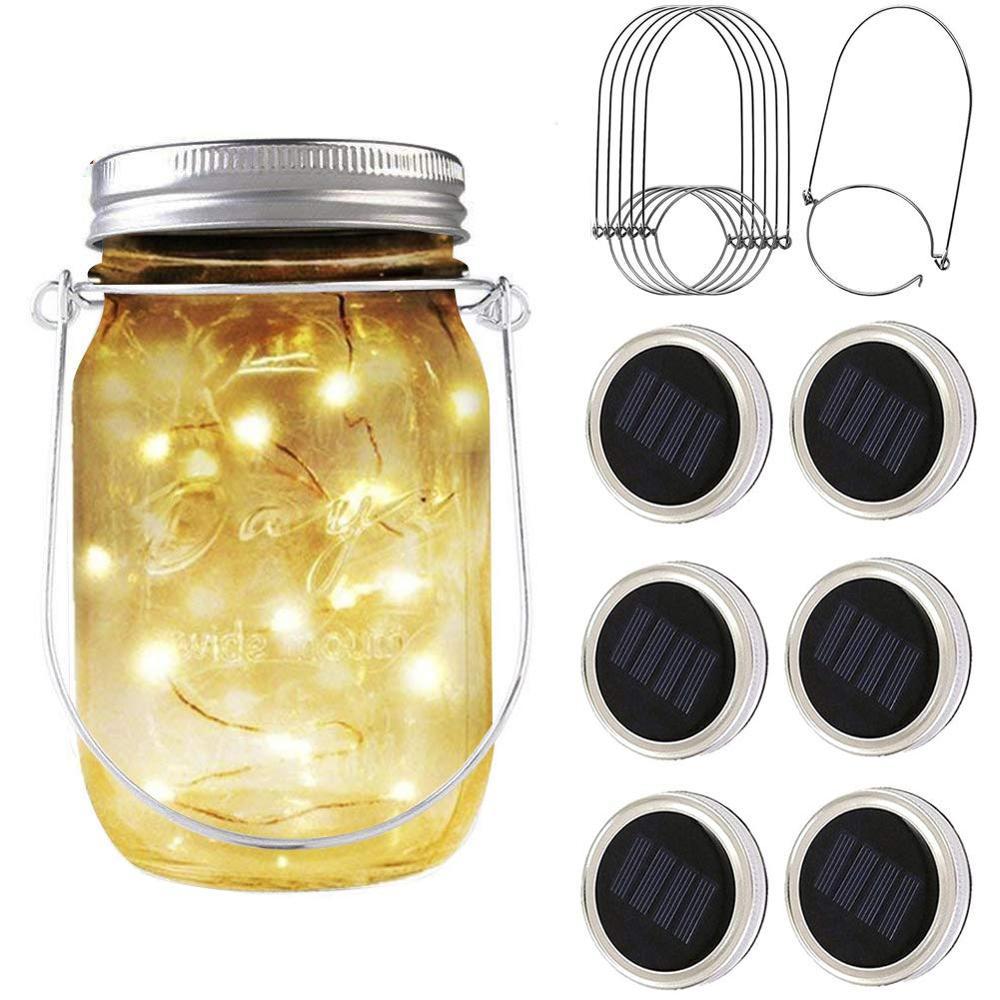 3//6pack Solar 20 LED Mason Jar String Light Lid Insert Garden Xmas Fairy Firefly